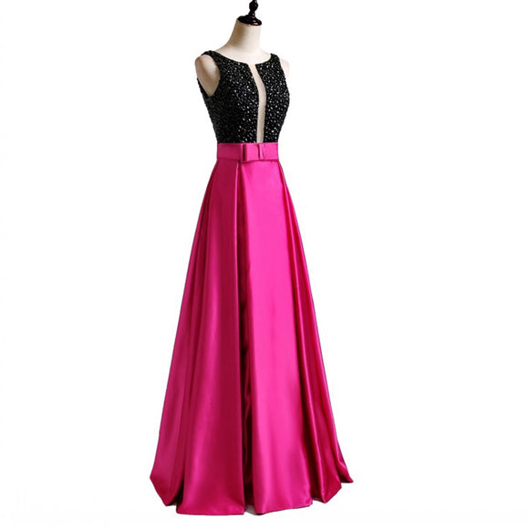 LP3361 Illusion Plunge Open neck Fuchsia and Black Prom Dress A Line Satin 2018 Formal Wear Long