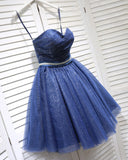 Strapless Corset Sweetheart Neckline Blue Cocktail Party Dress with Belt,Short Homecoming Dress SP0713