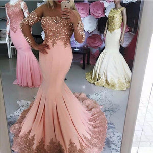 Pink Kaftan Dubai Long Sleeve Mermaid Evening Dresses 2018 Formal Prom Gowns with Pearls Lace Vestido Longo