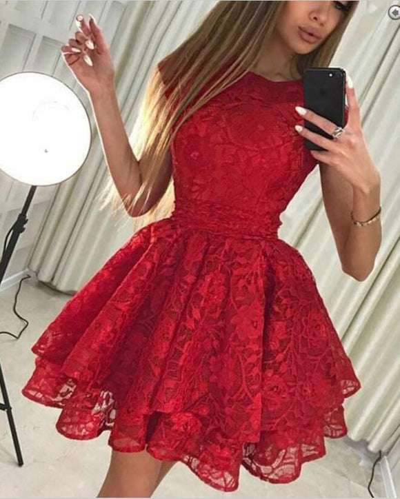 Modest Scoop Sleeve Scoop Neck Lace Short Prom Dress Junior Homecoming Gowns 2020 SP402