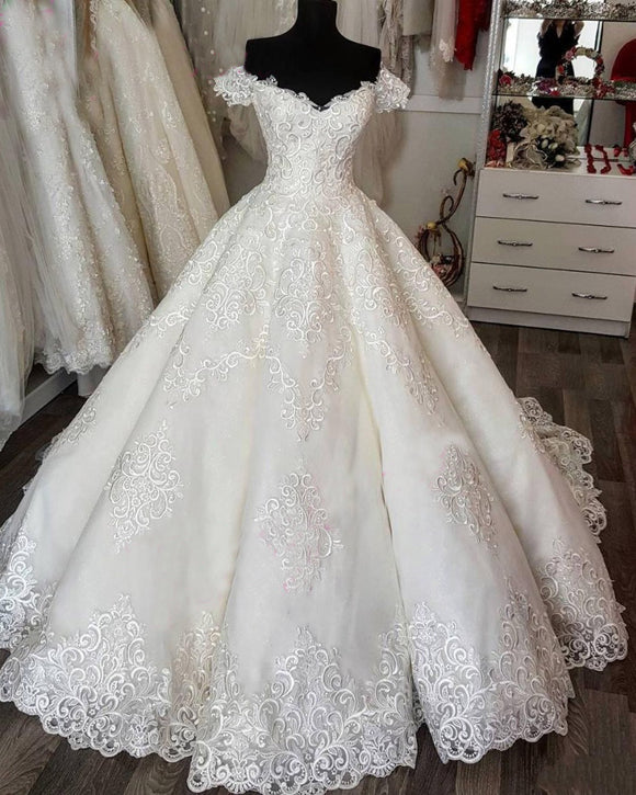 Hot Sale Off the Shoulder Short Sleeves Luxury Wedding Dress Lace Bridal Gown Custom Made WD323