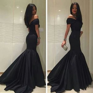 Black Prom Dress Off the Shoulder Satin Mermaid Senior Prom Gown,Women Formal evening Dresses