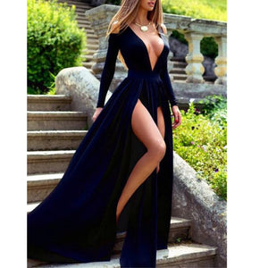 Long Sleeves Velvet Evening Dresses with Sleeves,Royal Blue Sexy Women Formal Party Dresses
