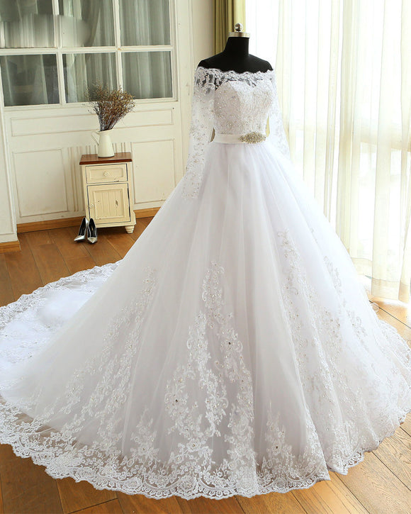 Princess White Long Sleeves Lace Wedding Dresses Bride Gown  Ball Gown  WD685