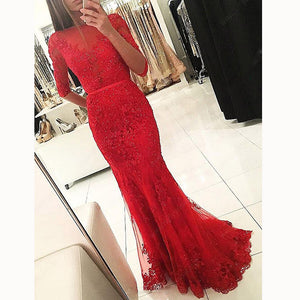 Trendy Red Lace Prom Dress Mermaid Red Formal Gown Mermaid Party Gown vestido longo