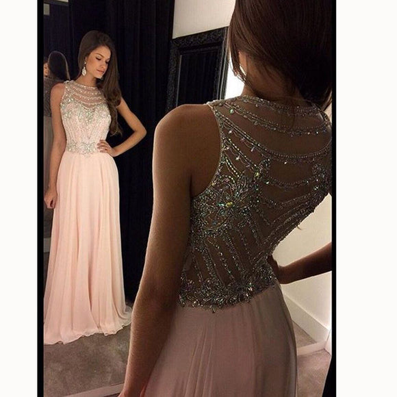 Stylish Pink Beading Long Prom Dress Women Formal Evening Gown