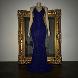 Halter Sexy Bling Bling Sequins Prom Dress Mermaid Evening Party Dress LP0548