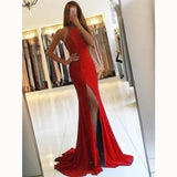 Classy Royal Blue Prom Dress 2019 Halter Fitted Evening Gown Sexy Slit Girls Senior Prom LP5598