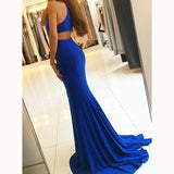 Classy Royal Blue Prom Dress 2020 Halter Fitted Evening Gown Sexy Slit Girls Senior Prom LP5598