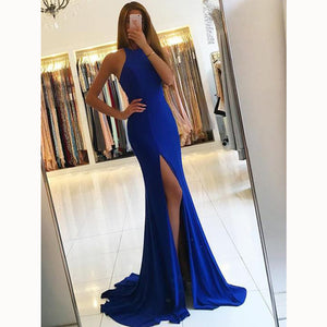 Gorgeous Halter Spandex Fitted Evening Dresses Prom Party Dresses Long abendkleider 2018 LP5578