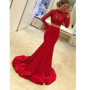Elegant Red Long Sleeves Prom Dress two/2 Pieces ,Crop Top Long Graduation Girls Formal Gowns,Evening Party Dresses