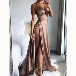 Stylish Evening Party Gown Sexy A Line Spaghetti High Slit Prom Dress robe de soiree longue