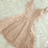 New V  Neck Backless Champagne Sequins Short Graduation Dresses Girls Mini Party Homecoming Dress SP321