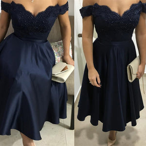 Classy Navy Jr. Prom Dress Short for 8th Grade Graduation, Party Dress A Line Homecoming Dress