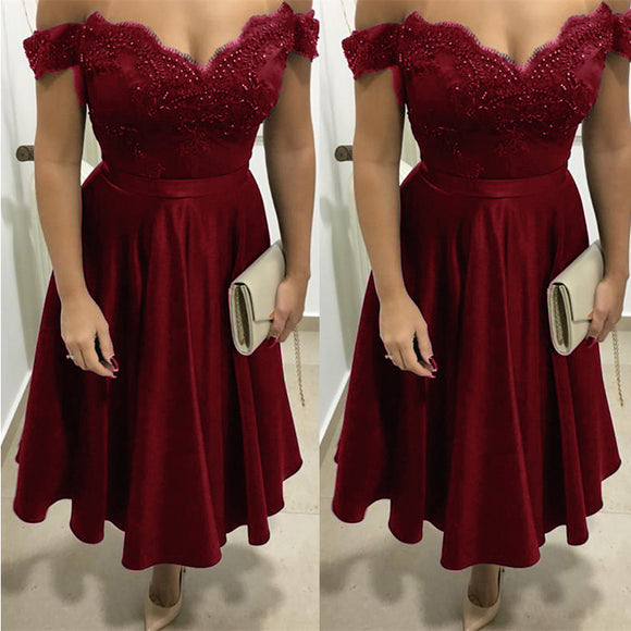 New Off the Shoulder Burgundy Short Homecoming Dress  ,Semi Formal Teens Graduation Dresses Short
