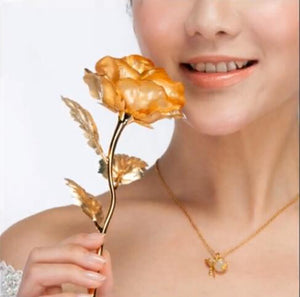 Gold Rose Flowers Valentine's Day Gifts 25cm Length 24k Gold Rose, Golden Rose Flower HOME Decoration
