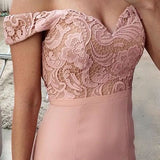 LP877 Pink Long Prom Dresses Off the Shoulder Formal Gowns lace Wedding Party Gown 2018