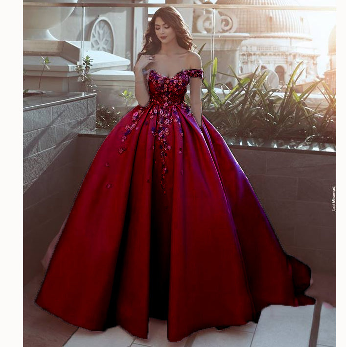 8a6cd81d595 ... WD0211 Pink off the shoulder flower Ball Gown Prom Dress Appliques Lace  Satin Wedding Dress Reception ...