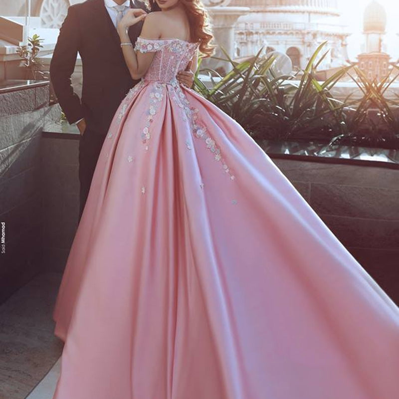 26ba4c8d74a ... WD0211 Pink off the shoulder flower Ball Gown Prom Dress Appliques Lace  Satin Wedding Dress Reception ...