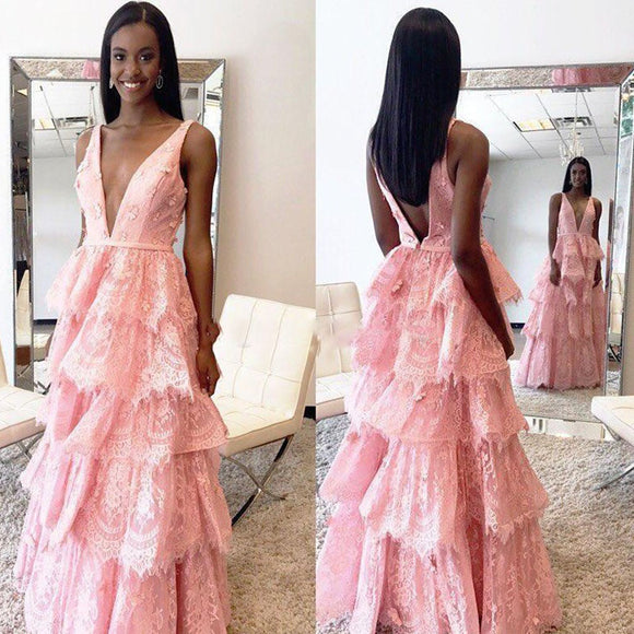 LP2265 Pink Lace Prom Dress A Line Formal Evening Gown Sexy Deep V Neck vestido de baile de renda 2018