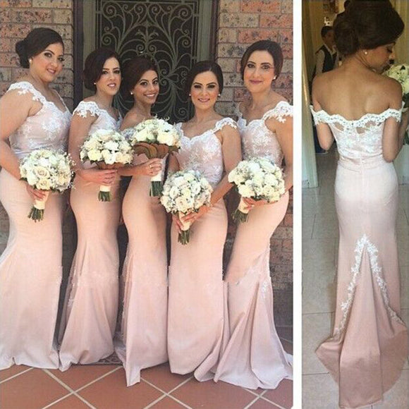LP4599 lace Appliqued Mermaid Bridesmaid Dress Long Lace Appliqued Long Wedding Party formal  Gown