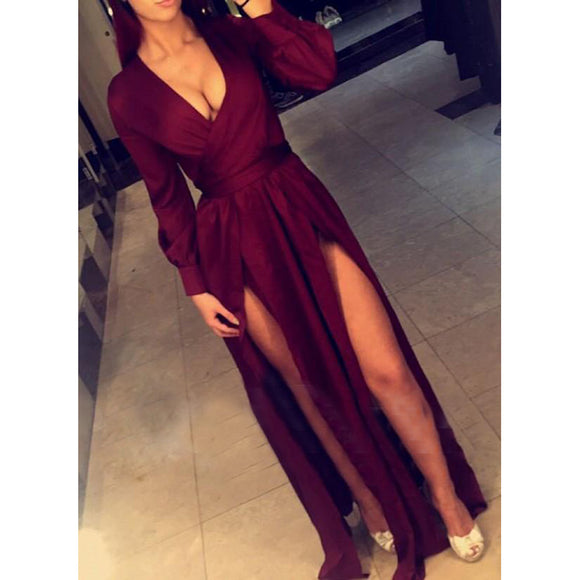 247a7e1aff5 LP788 Wine Red Long Sleeves Evening Party Gowns Sexy Slit V Neck Formal  Gown 2018 Vestido