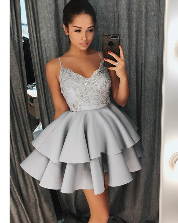 Gray Spaghetti Short Cocktail Party Dresses Semi Formal Girls   Junior homecoming Prom Short Dress