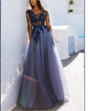 Elegant Vintage Long Sleeved See Through Blue Tulle Lace Gowns for Prom Long Wedding Party Dresses PL77840