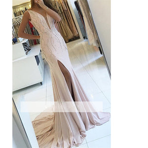 LP3654 Plunge V Neck Sexy Long Evening Gown Beaded Formal Prom Dress 2018 with Slit
