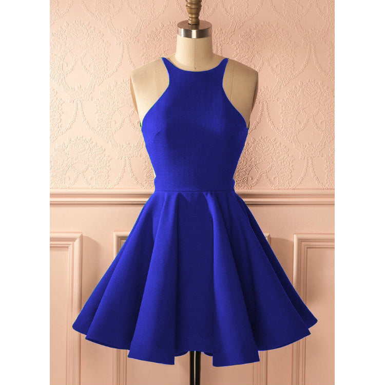 4 Royal Blue Short Halter Cocktail Dress
