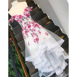 LP4445 High Low Lace Appliqued Flowers Ivory Prom Dresses formal gown long party dress off the shoulder