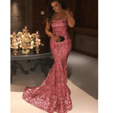 Siaoryne LP0927 Strapless Sequins Prom Dresses Long Evening Gowns Mermaid Vestido De Festa