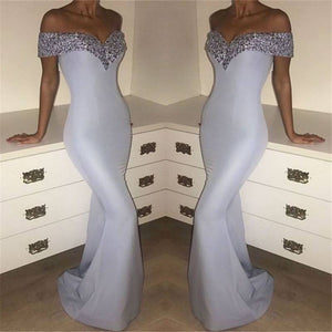 LP1021 Off the Shoulder Mermaid Satin evening Dresses 2018 Formal Gown with Beading Vestido De Festa