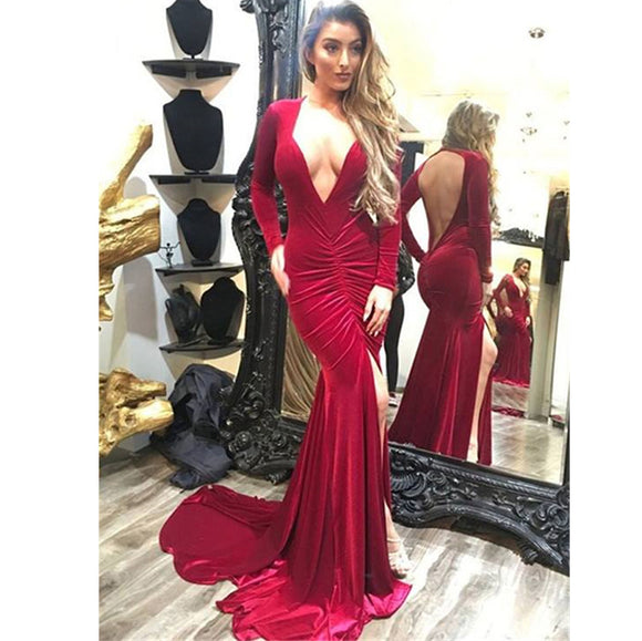 LP588 Long Sleeves Burgundy Evening Formal Gowns V Neck Sexy Women Party Dress,Fitted 2018 Prom