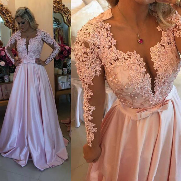 LP7773 Long Sleeves Beaded Lace Prom Dress A Line ,Senior Prom 2018 Homecoming Party Evening  Gown Vestido De Festa Longo