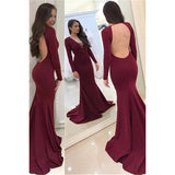 LP2221 Long Sleeves Women Open Back Satin Mermaid Evening Dresses ,Long Sleeved Formal Gown Prom Dresses 2018
