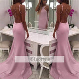 LP7877 Pink Satin  Backless Evening Dress Mermaid Long Formal Party Gown