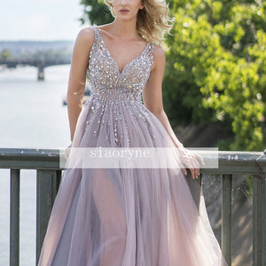 Charismatic V Neck Illusion Crystal Beaded Evening Dresses Long Formal Prom Gown 2020 with Slit leg