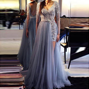 Long Sleeves Sequins Beading Sexy Long Evening Gown Light Blue Women Formal Dress