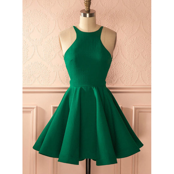 Green Short Graduation Prom Dress for  Jr 8th Grade ,Short Homecoming Halter Cocktail Dress SP711