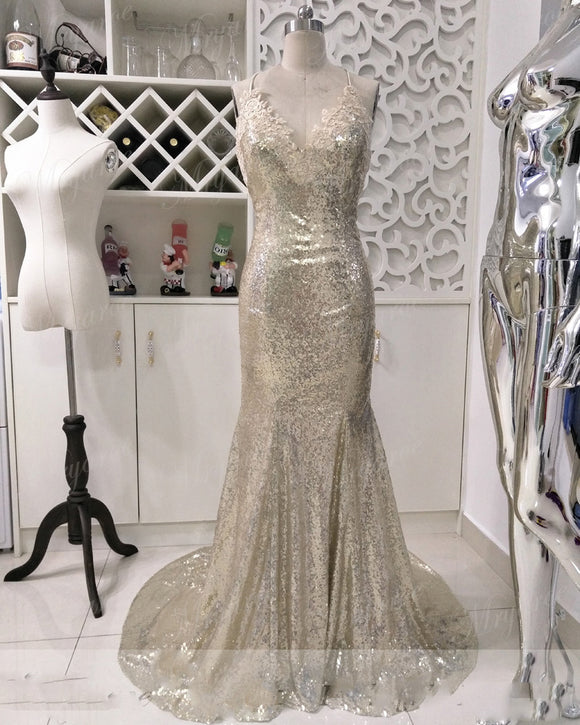Siaryne Long Fishtail Gold Sequins Prom dress mermaid Evening Gowns formal
