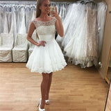 Fabulous White Prom Dress Short Lace Pearl Homecoming Dresses mezuniyet elbiseleri