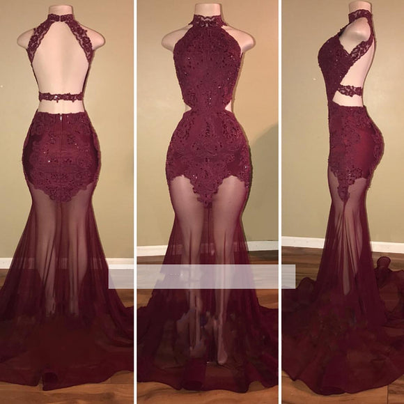 Red Wine African Prom Dress Mermaid Sexy See Through High Neck Halter Lace Women Formal Gown Evening Party Dress