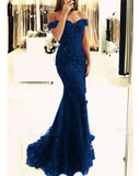 Elegant Lace Embellish Mermaid 2020 Prom Dress Wine Red Off the shoulder Evening Long Dress