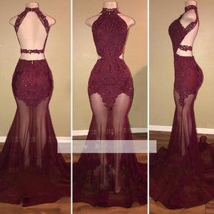new Wine Red Mermaid See Through Halter Prom Dress Sexy African Formal Gown LT125