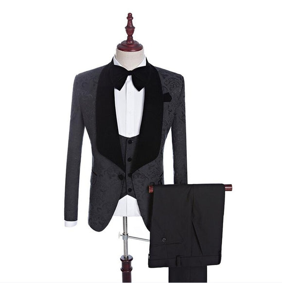 2020 Suits 3 Piece Black Shawl Lapel Groom Tuxedos Beige Men Suits Wedding Best Man Blazer (Jacket+Pants+ Bow Tie+Vest)