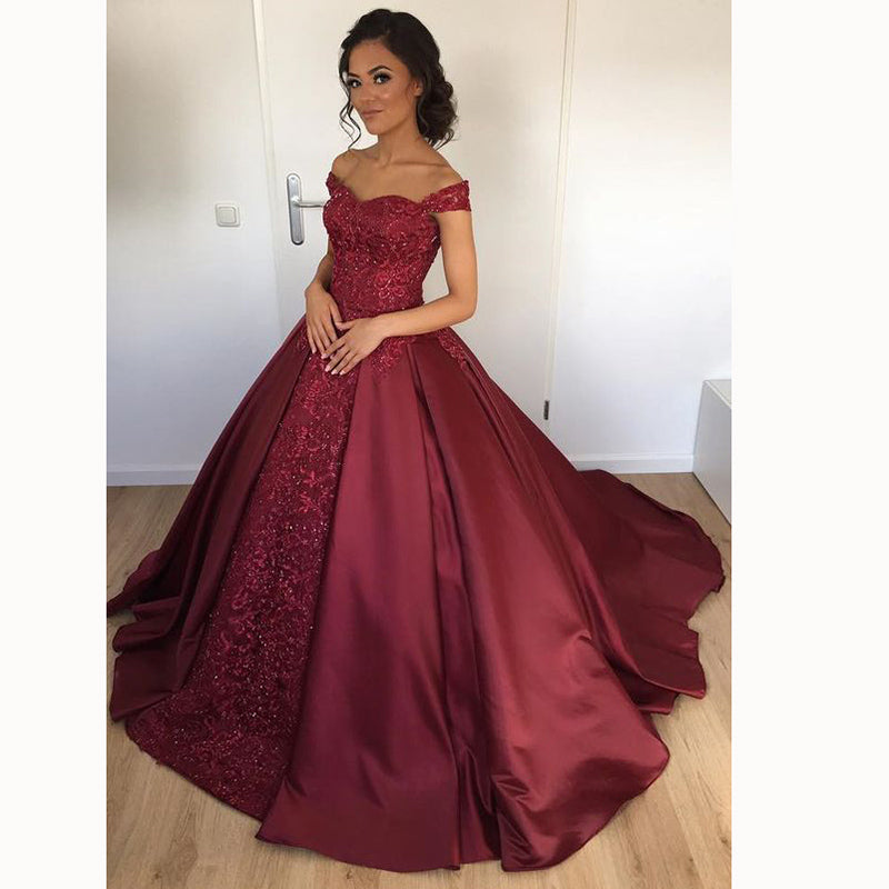 Evening Gowns For Wedding Reception: Gorgeous Wine Wedding Dresses With Straps Ball Gown Lace
