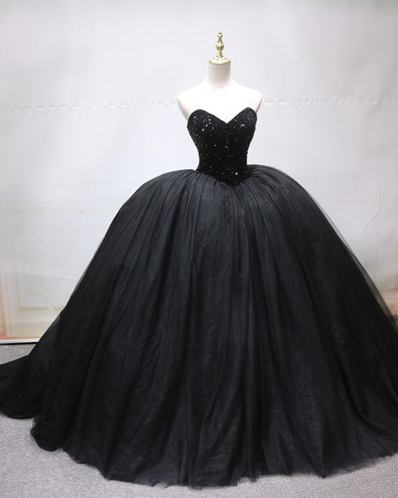 Poofy Sweetheart Tulle Beaded Black Ball Gown ,Prom Formal Dresses  PL07112