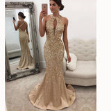 Sexy Mermaid Crystal Beading Long Evening Dress Formal Prom Dresses Champagne Siaoryne LP032