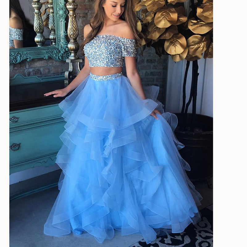 acee17fcdb7 Baby Blue Short Sleeves Off Shoulder Two Pieces Lace Prom Dress Ruffles  Girls Graduation Gown Crop ...
